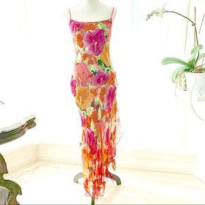 Dresses & Skirts - Long beaded floral pink orange strapless dress